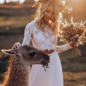 Image 3 - Vestidos de novia de encaje bohemio de dos piezas, vestidos de novia largos de manga larga, sexys vestidos de novia de campo con botones cubiertos