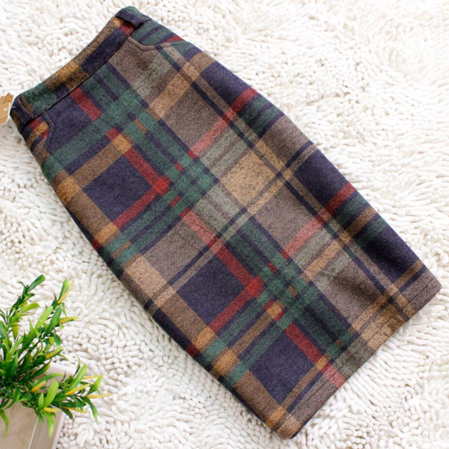 Plus Size 3XL Vintage Plaid Skirt Women Elegant Package Hip Slim Winter Knee-length Skirts Warm Woolen Skirt Office Lady