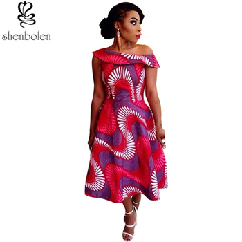 2018 summer Africa Clothing sexy slash neck collar african dress for women fabric african wax print fabric 100% cotton for girl 건달 조폭 옷