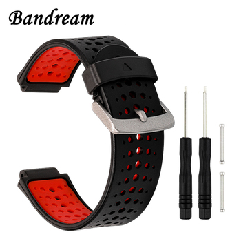 Double Color Silicone Rubber Watchband +Tool for Garmin Forerunner 235 220 230 620 630 735XT Watch Band Wrist Strap Bracelet