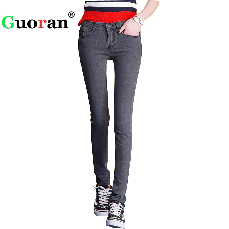 {Guoran} black grey blue skinny jeans high waist Women 2017 plus size Female Denim Jeans Leggings Mid Waist Trousers Pantalon