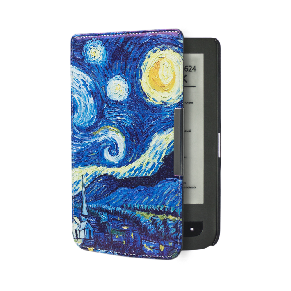 Printed folio PU leather cover case book case for Pocketbook basic touch lux  614/624/626+free gift