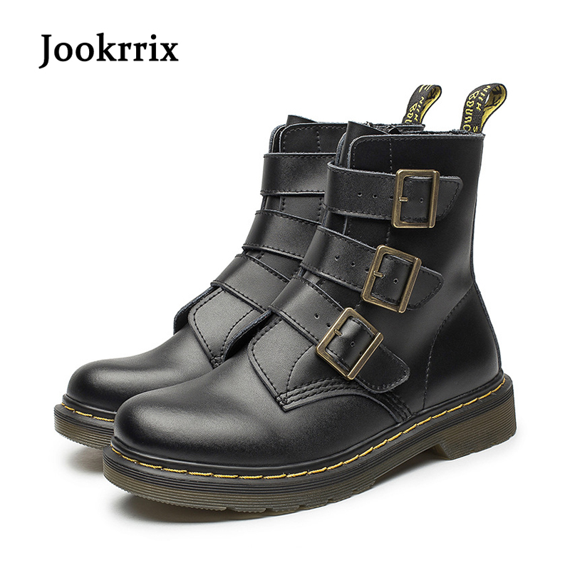 Jookrrix New Spring Fashion Boots Buckle for Lady Genuine Leather White Shoes Women Martin Boots Zipper Breathable Black Soft jookrrix autumn fashion boots women shoe metal decoration lady genuine leather zipper martin boot breathable black western style page 10