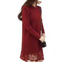 2016 Fashion New Autumn Winter Women Sweater Dress O neck Long Sleeve Lace Patchwork Knitted Dress