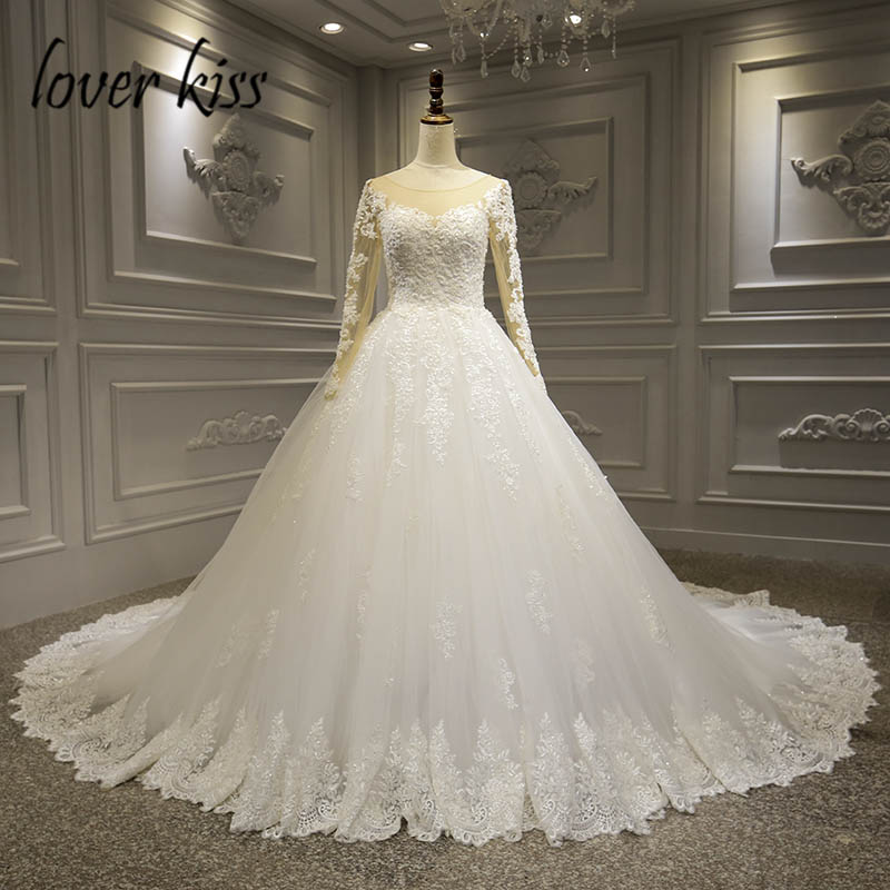Lover Kiss Vestido De Noiva 2019 Real Images Long Sleeves Wedding Dresses Wedding Gown Lace Luxury Illusion Tulle robe mariee