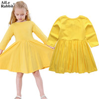 AiLe Rabbit 2017 Kids Girls Dresses Long Sleeve Fall New INS Hot Princess Dress Cotton Children's Clothing Big Dress Yellow