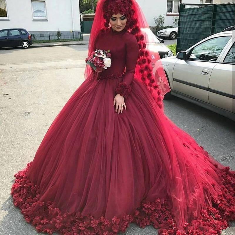 2019 Saudi Burgundy Muslim Wedding Dress With Handmade 3D Floral Flower Ball Gown Long Sleeves Tulle Dubai Arabic Brudal Gown