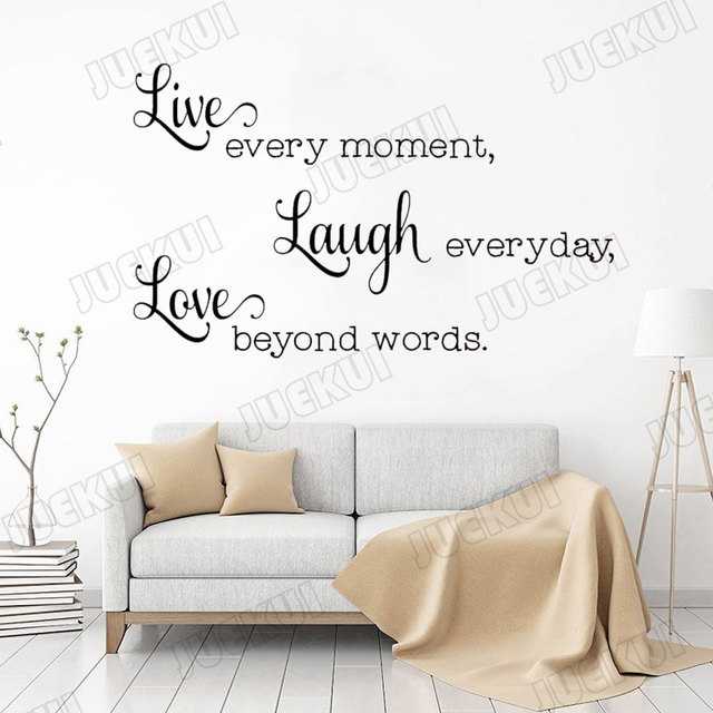 בשידור חי Laugh אהבת Creative סלנג טקסט אותיות ציטוטי קיר מדבקת סלון בית תפאורה ויניל מדבקות שינה מדבקות L983
