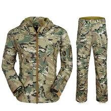 Tad estadounidenses militar del ejército uniforme para hombre para hombre shark skin soft shell chaqueta traje viento genuino chaqueta y los pantalones del uniforme