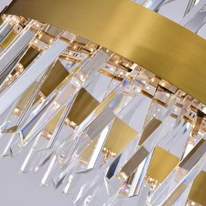Image 5 - Youlaike 현대 LED 샹들리에 거실 럭셔리 크리스탈 샹들리에 조명 골드/크롬 세련 된 철강 디자인 교수형 램프