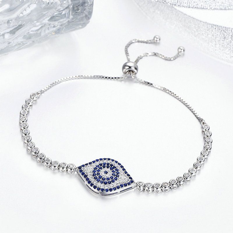 BISAER 925 Sterling Silver Clear CZ Blue Eye Ethnic Guardian Tennies Bracelet For Women Luxury Wedding