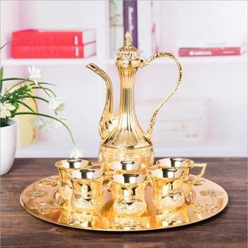 European 8pcs/set gold/silver decorative metal wine set bartender set wine decanter for moonshine whiskey decanter JJ090