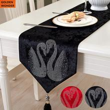 European Style Table Cloth Luxury Dining Runners Mats Red Black Bed Flag Swan Married Items Home Textile High Quality