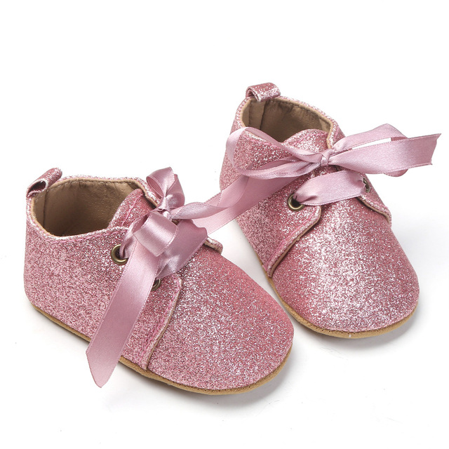 7a84783130c246 Newborn Baby First Walkers Girls Princess Bling Bow Lace Up Prewalkers Soft  Bottom Baby Shoes Dress Crib Shoes For 0-18M Kids