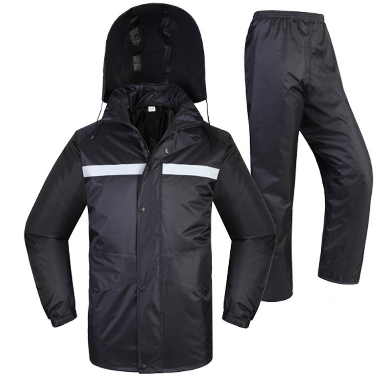 SPARDWEAR waterproof  breathable reflective  jacket and pants sets polyester black split raincoat for male female Free shipping отбойный молоток dewalt d 25871 k