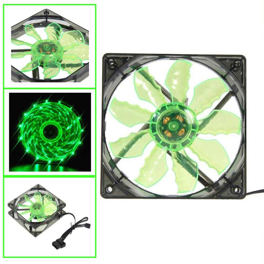 2017 Top sale New Green 15 LED Light Quite 120mm DC 12V 4Pin PC Computer Case Cooling Cool Fan Mod Heat sink Cheaper nice