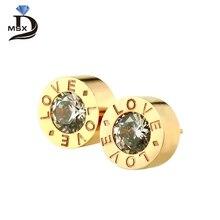 Фотография MSX Luxury Gold Color Cubic Zirconia Stud Earrings for Women Roman Numeral Round Shape Women Stud Earrings Jewelry Gift