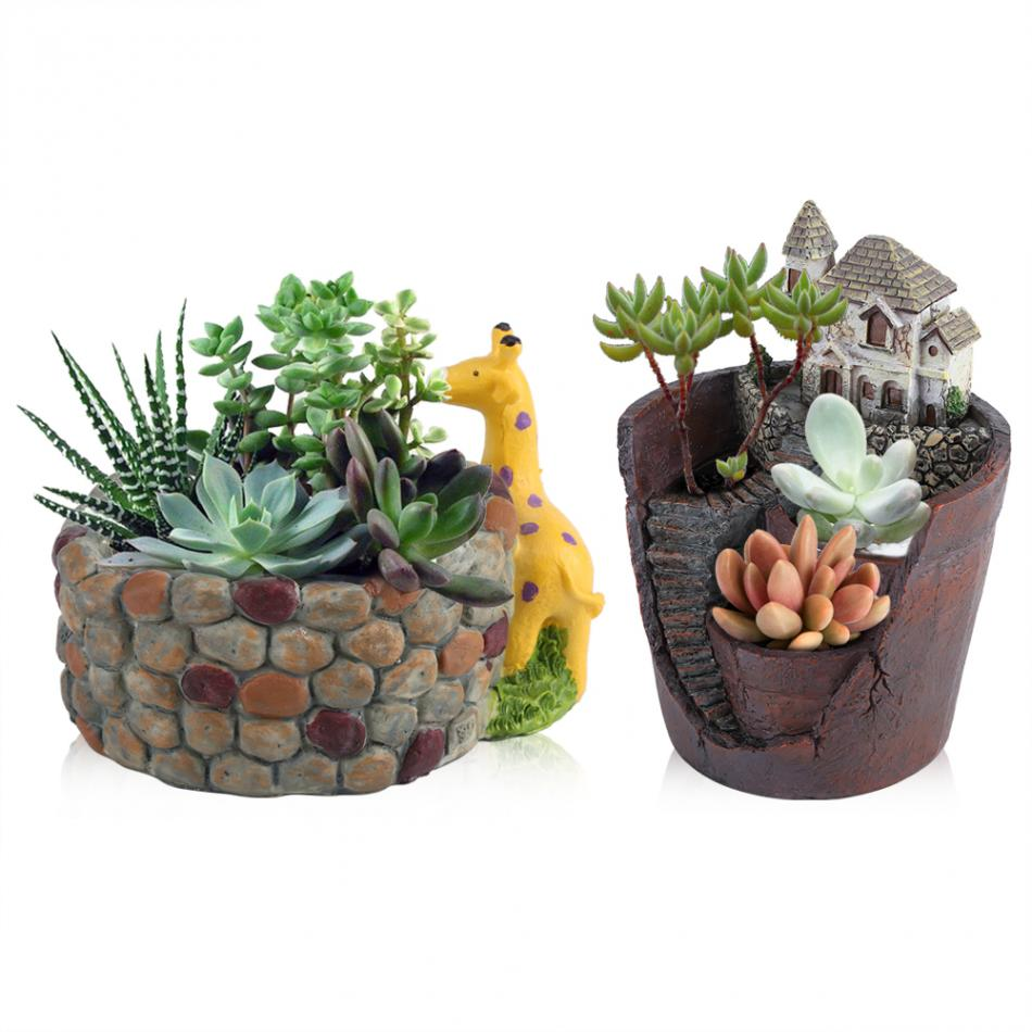 Creative Resin Succulent Plant Pot Container Herb Flower