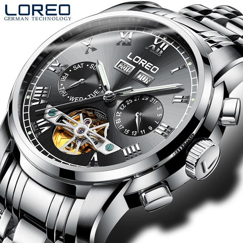 LOREO fashion leisure tourbillon hollow automatic mechanical luminous waterproof stainless steel black business fashion watch цена