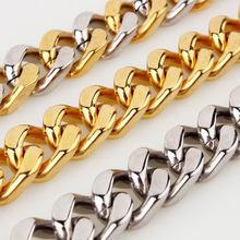 HIP Hop 7-40 INCH Silver Gold Filled Heavy Titanium Stainless Steel Double Curb Cuban Link Rombo Chain Necklaces for Men Jewelry high quality 21mm 60 cm super heavy thick mens flat curb cuban chain necklaces tone stainless steel hip hop gold silver necklace