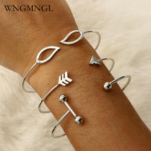L&H New 3 Pcs/Set Vintage Cuff Bangles Hot sale Sliver Color Open Arrow Leaves Charms Bracelet For Women 2018 Fashion Jewelry trendy pure color arrow cuff ring for women
