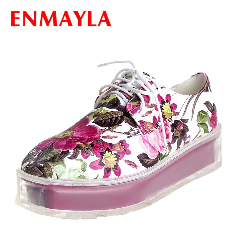 ENMAYLA New Colorful Gold Pink Flat Platform Shoes Woman Fashion Punk Style Womens Lace-up Shallow Casual Female