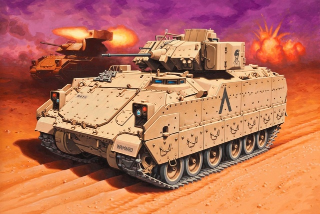 M2A2 Bradley  military machine Infantry Fighting Vehicle M2A2 Bradley Omar QX110 home wall art decor wood frame poster