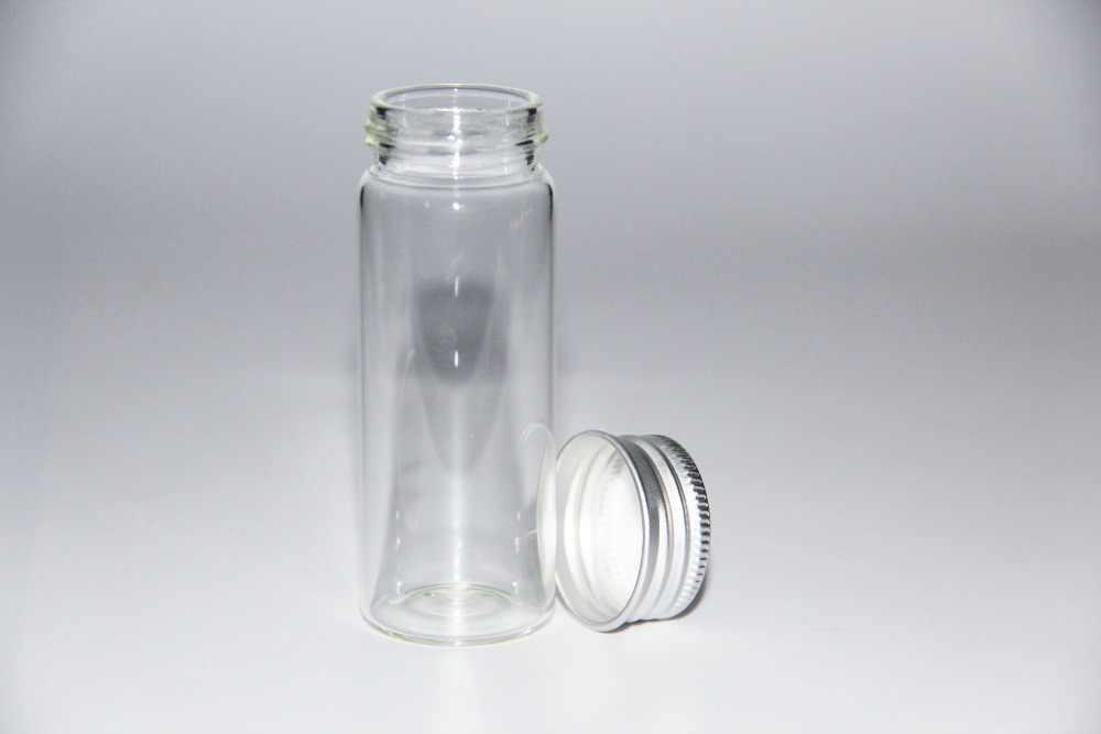 100ชิ้น30*80มิลลิเมตร40มิลลิลิตรขวดขวดแก้วแจกันPotion Tieเสียบขวดแก้วภาชนะเก็บขวดอลูมิเนียมหมวกขวดแก้วตกแต่ง