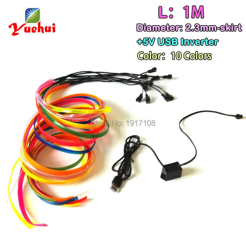 With Car Party Decoration 2.3mm-Skirt 1M 10 COLOR EL wire flexible Neon glowing Led thread rope tube light With 5V USB Driver