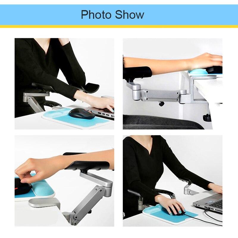 Repose-bras réglable en métal support de poignet accoudoir de tapis de souris étendu pour ordinateur ergonomique main confort tapis de souris protection des épaules - 3