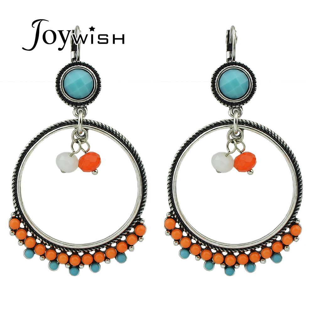 Indian Jewelry Bohemian Style Antique Silver Color Colorful Beads Geometric  Circle Hoop Earrings For Women Jewelry