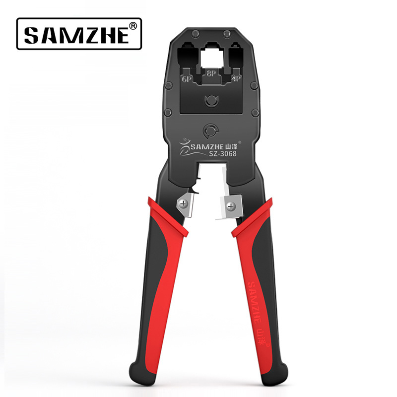 SAMZHE Crimper Cable Cutter Automatic Wire Stripper Multifunctional Stripping Tools Crimping Pliers For 6P/8P Ethernet Telephone