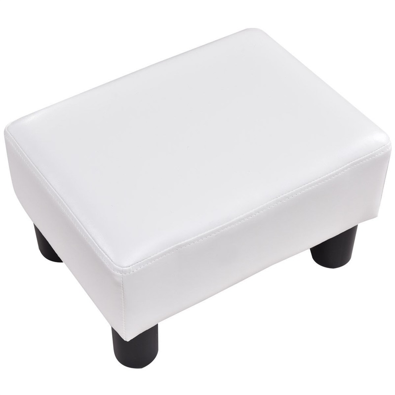 Fantastic Details About Small Ottoman Footrest Pu Leather Footstool Rectangular Seat Stool Portable Dailytribune Chair Design For Home Dailytribuneorg