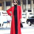 Customize Women Girls Elegant Slim High-end Long Cashmere Coat Female 2016 New Winter Pure Color Wool Overcoat Plus Size