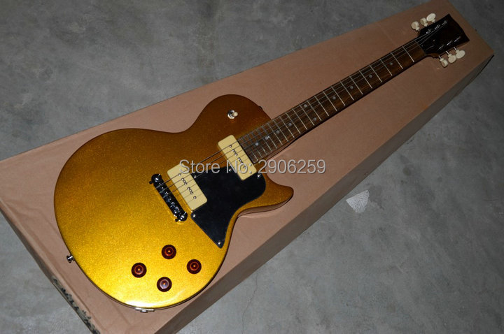 Hot Sale LP studio electric guitar P90 pickups one piece bridge real guitar pictures gold color high quality free shipping new high quality custom lp electric guitar pure white electric guitar golden guitar accessories real photos hot free shipping