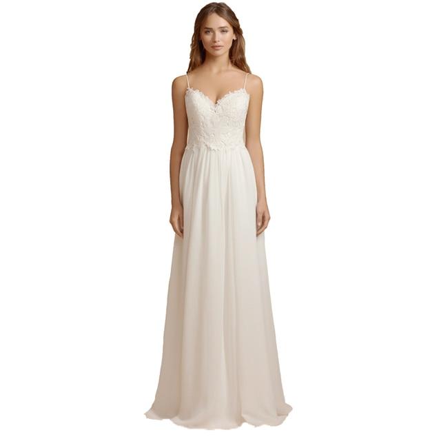 0aeb5407bddfa Dreamy Bridal Bohemia Wedding Dress A Line Chiffon Lace Beach Bridal Gowns  Sexy Backless Spaghetti Straps Vestido De Novia 2018