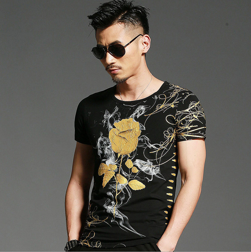 TBAIYE 2019 Nyaste Skriv ut Lyx T-shirt Märke Nyaste Sommar Mode Slank Kortärmad Bomull Män Tillfällig T-shirt