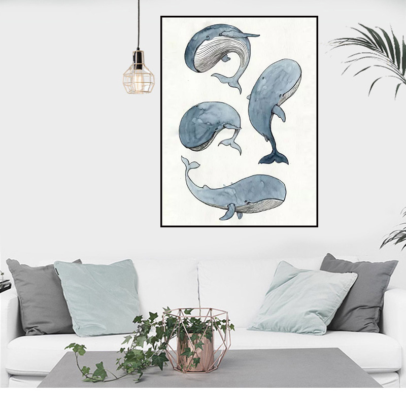 Minimalist Whale Wall Art Paintings on Canvas Scandinavian Animals Prints and Posters for Baby Nursery Bedroom Modern Home Decor