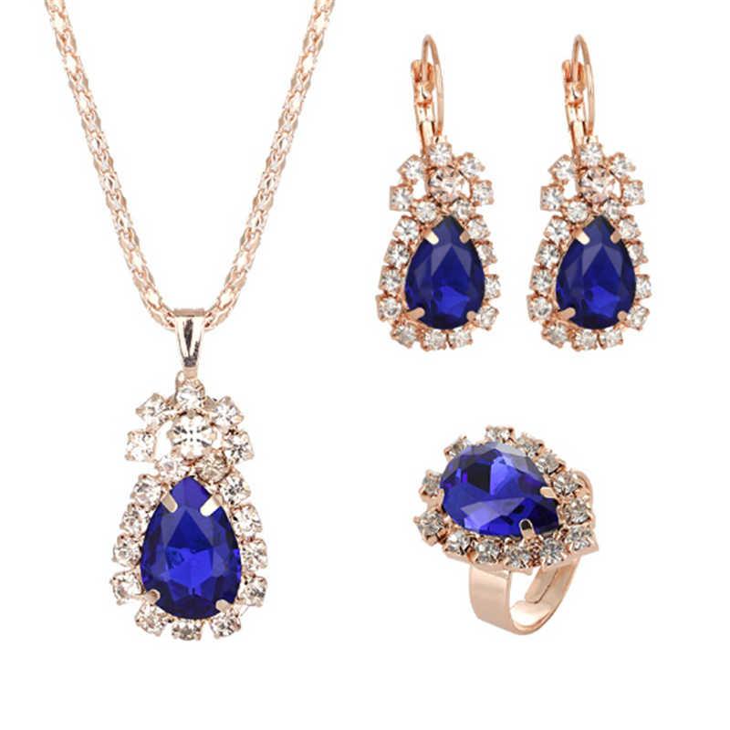 מחיר מדהים קריסטל טבעת עגילי שרשראות סטי תכשיטי סטי לנשים גיאומטרי עיצוב חתונה תכשיטי 3PCS תכשיטי סטים