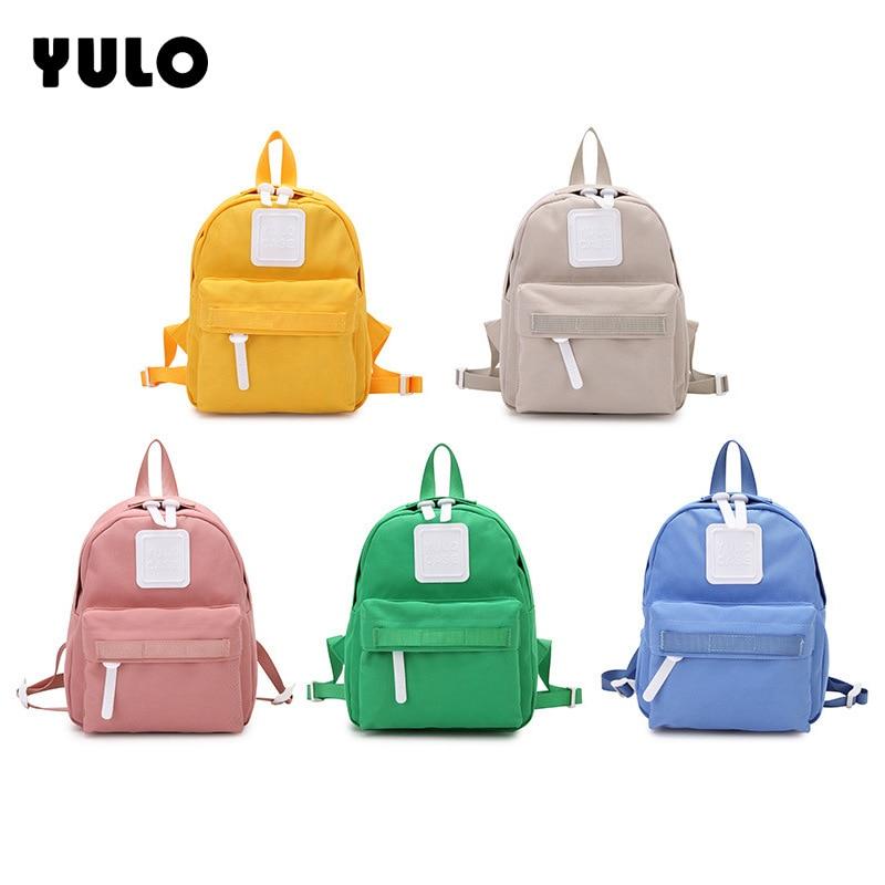 YULO Fashion Plain School Bags For Teenager Girls Casual Women Backpacks Canvas Bag Rucksacks Students