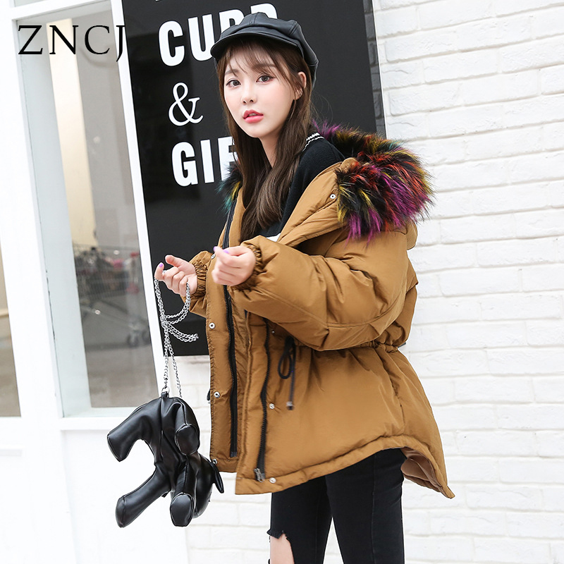 ZNCJ Winter Coat Women Fashion Hooded Padded Thick Down Cotton Parkas Outfits 7 Colors Options fashionable thick hooded pleated down coat for women