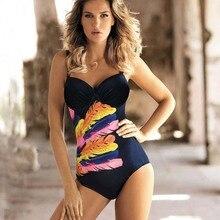 Vintage One Piece Swimsuit 2019 Swimwear Women Push Up Monokini Bodysuit Female Plus Size Swimwear Beach Wear Retro Bathing Suit