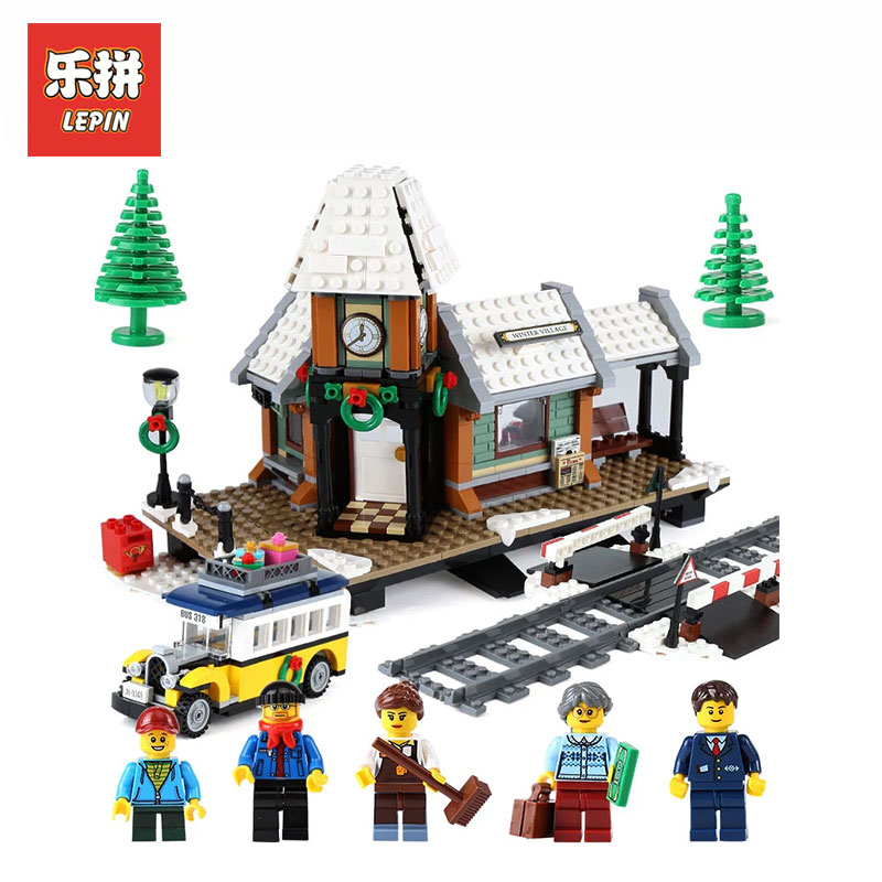 Lepin 36011 1010Pcs Genuine Creative Series The Winter Village Set Model Building Blocks Bricks Educational Toys LegoINGly 10259 lepin 42010 590pcs creative series brick box legoingly sets building nano blocks diy bricks educational toys for kids gift