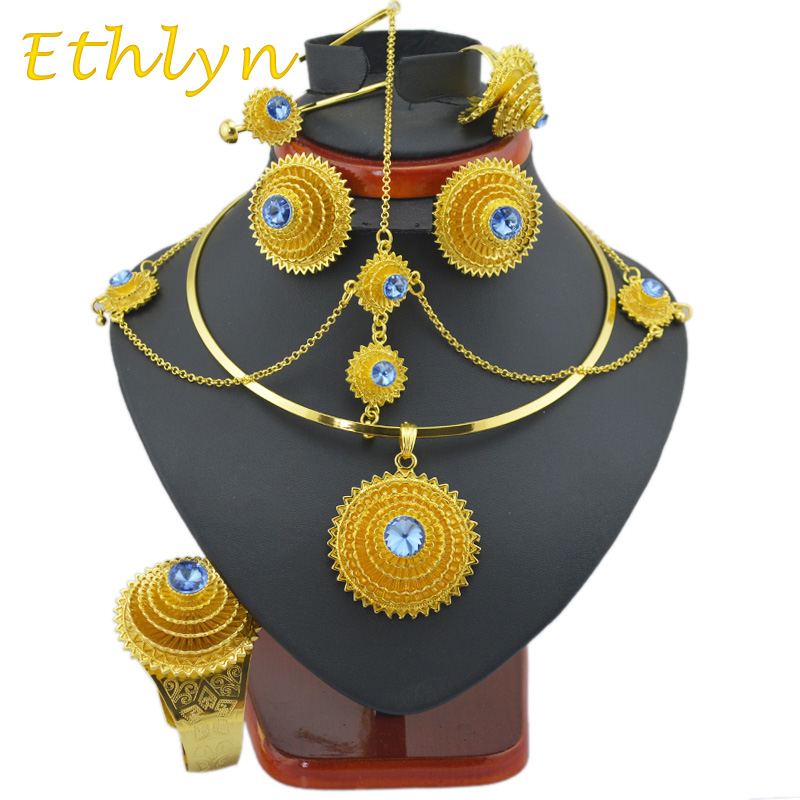 Ethlyn big Fashion Ethiopian jewelry sets with hair pcs  Gold Color stone  jewelry sets  for  Ethiopian women accessories S97A