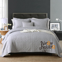 100% Cotton Grey Bedspread Pillow Cases Queen/King Size High Quality Bed Cover Set Quilt Floral Coverlet Set 3pcs