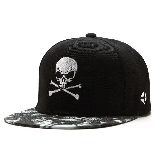 אופנה היפ הופ כובעי גברים נשים בייסבול כובע Snapback שחור כובעי צבעים כותנה עצם אירופאי סגנון קלאסי מגמת גולגולת רקמה