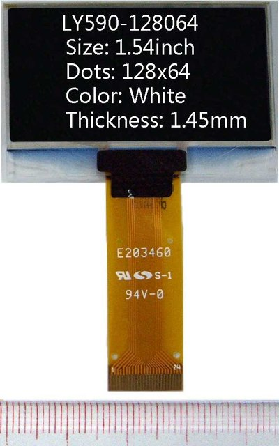 1.54 inch 128x64 White 1.45mm(thickness) oled display oled