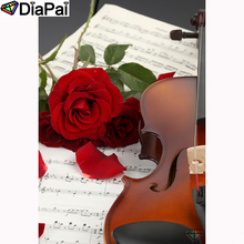 DIAPAI Diamond Painting 5D DIY 100% Full Square/Round Drill Rose flower violin Embroidery Cross Stitch 3D Decor A23668