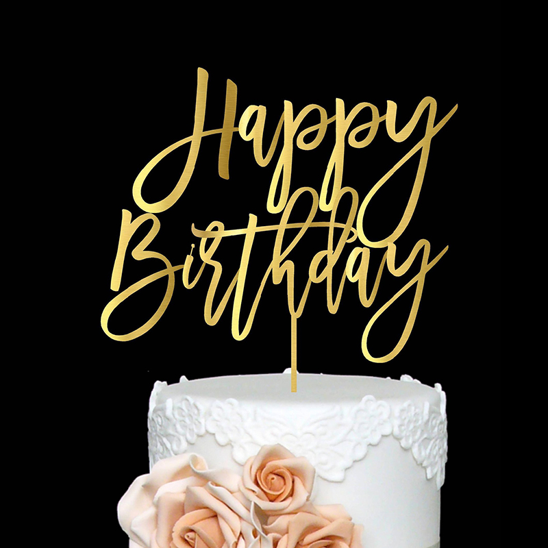 Happy Birthday Acrylic Cake Topper Gold & Silver Monogrammed Decor