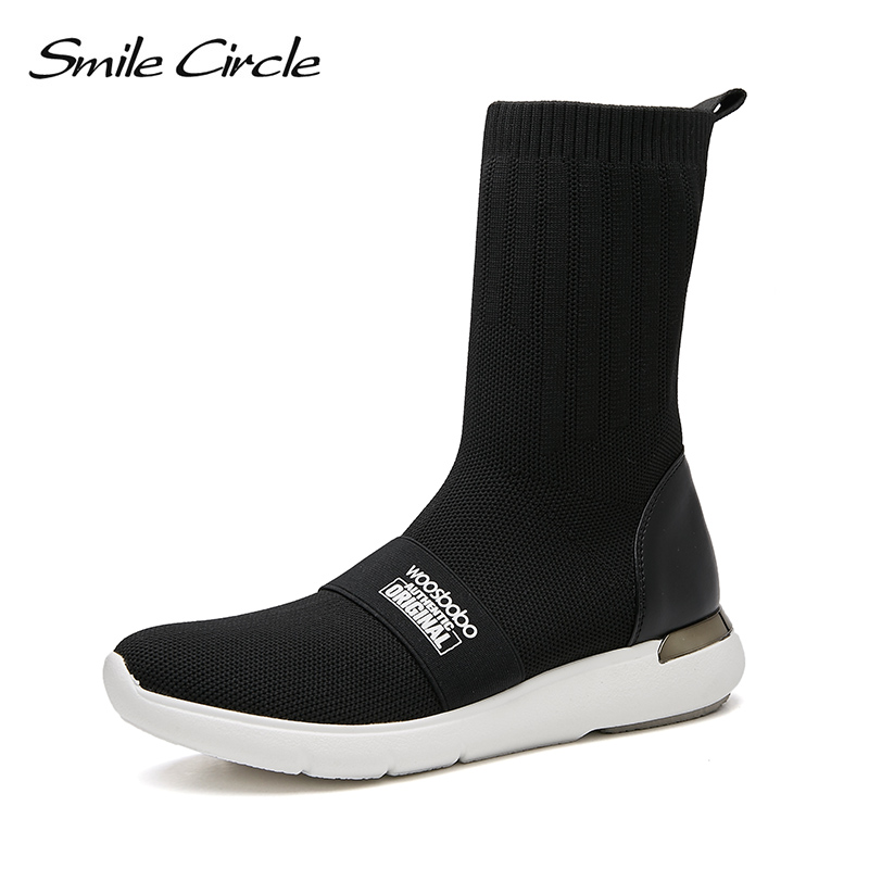 Smile Circle spring autumn sneakers lady fashion socks boots ladies comfort casual boots C7W18B04 ombre circle calf length socks